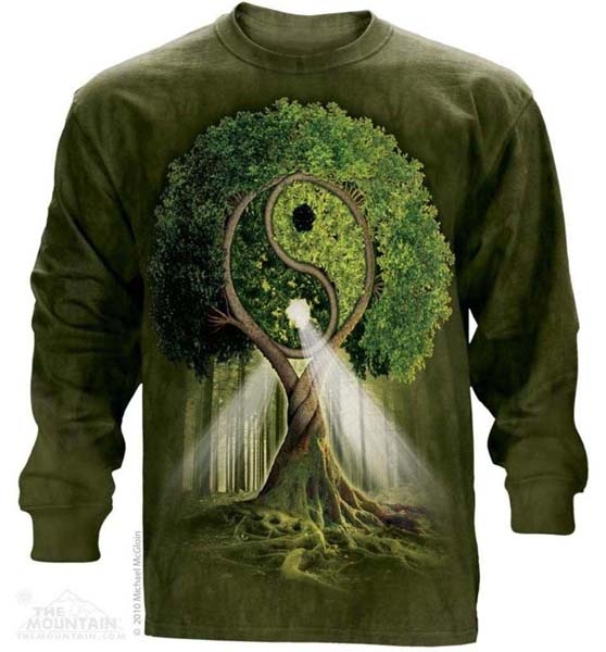 The Mountain Yin Yang Tree Long Sleeve Ying Peace Bonsai T-Shirt (Sm)