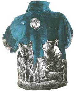 Shooting Stars Wolf Plush Fleece Jacket Kids / Junior Size