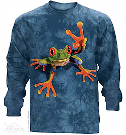 The Mountain Peace Out Victory Frog Long Sleeve Shirt (Lg, XL)