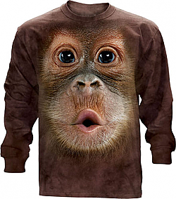 The Mountain Big Face Baby Orangutan Monkey Long Sleeve Shirt