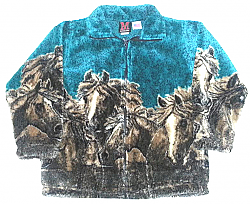 Horses Turquoise Plush Fleece Jacket Kids & Junior Size