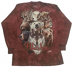 "The Mountain ""Alaska"" Northern Wildlife Collage Long Sleeve wolf bear eagle moose elk T-Shirt"