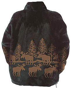 Mazmania Forest Moose Microplush Fleece Jacket Adult (Sm - 2X)