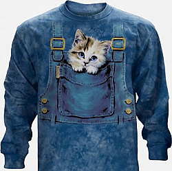 The Mountain Kitty Overalls Long Sleeve Cat Kittens Shirt (Med - 3X)