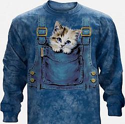 The Mountain Kitty Overalls Long Sleeve Cat Kittens Shirt (Med - 3X)