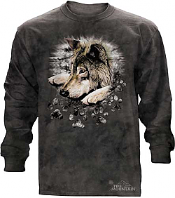 The Mountain Wolf in Dye Paws Long Sleeve T-Shirt