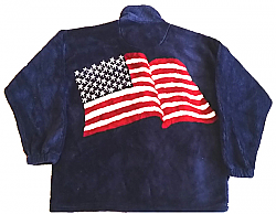 Clarance Freedom USA American Flag Plush Fleece Jacket Adult (Small)
