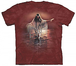 The Mountain Golden Reflections Native American Woman Maiden T-Shirt (Sm - 2X)