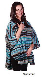 Bear Ridge Gladstone Washable Looped Wool Native American Aztek Hooded Cape / Poncho