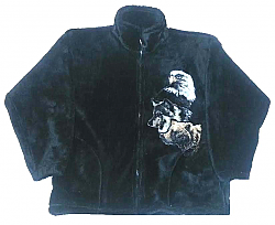 Sale - Wild Spirit by Bear Ridge Outfitters Bald Eagle Bear Wolf Plush Fleece Jacket Adult (XS - 2X)