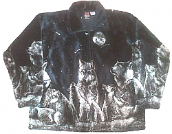 Evening Wolf Navy Plush Fleece Jacket Adult (XS - 4X)