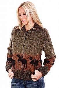 Sale Sunset Moose Looped Wool Cinchback Fleece Jacket by Bear Ridge Outfitters