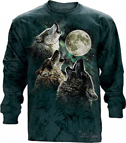 The Mountian Three Wolf Moon Long Sleeve Shirt Wolves