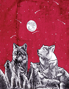 Mazmania Wolves Burgundy Double Ply Plush Fleece Wolf Print Blanket