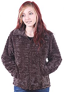 Andrea Faye Frankford Brown Washable Faux Fur Cinchback Jacket (XS-4X)