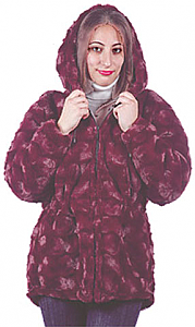 Bordeaux Hooded Adult Microsheer Boa Anorak (Sm - 2X)