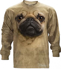 Sale The Mountain Pug Face Long Sleeve Dog T-Shirt (XL, 5X)