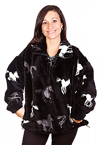 Running Black Horses Plush Fleece Jacket Adult (Sm, 3X, 4X)