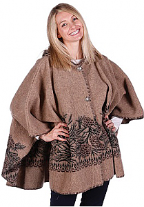 Women Pine Cones Berber Fleece Cape with Hood