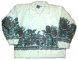 Clearance White Pine Cones Plush Fleece Jacket Adult (Sm)