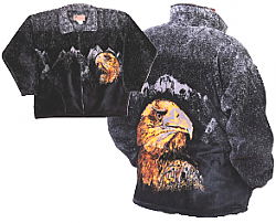 Bald Eagle Head Plush Fleece Jacket Adult