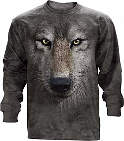 The Mountain Wolf Face Long Sleeve Tee Shirt (Sm, 2x, 3x)