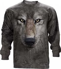 The Mountain Wolf Face Long Sleeve Tee Shirt (Sm, 2x, 3x)