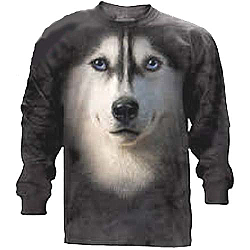 The Mountain Siberian Husky Face Long Sleeve T-Shirt (3X, 5X)