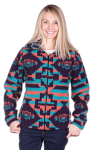 Ladies Modesto Looped Wool / Fleece Cinchback Southwestern Aztec Jacket by Bear Ridge Outfitters