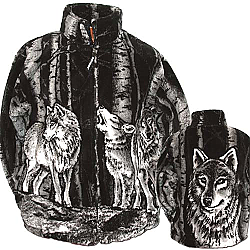 Black Mountain Timber Wolf Plush Fleece Wolves Jacket Adult (Xs - 3X)
