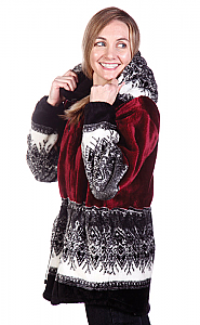 Arctic Snowflakes Hooded Plush Fleece Jacket  (Xs - 2x)