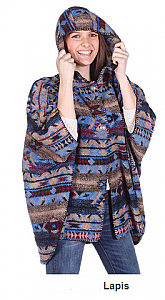 Bear Ridge Lapis Washable Looped Wool Native American Aztek Hooded Cape / Poncho