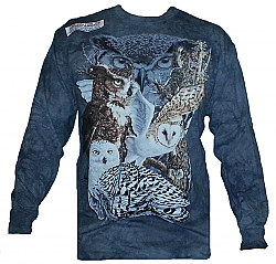 The Mountain Find 11 Owls Hidden Image Snowy Great Horned Barred Barn Long Sleeve Shirt (Med - 3X)
