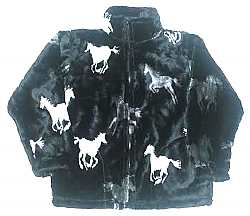 Running Black Horses Plush Fleece Jacket Junior Size