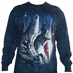 "The Mountain ""Falling Stars"" Wolf American Flag Patriotic Wolves Long Sleeve Shirt (Med - 3X)"