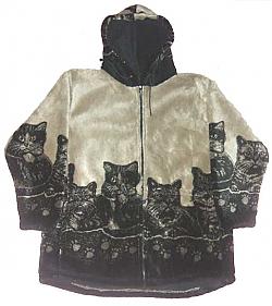 Clearance Sale Hooded Cats Kitten Plush Fleece Jacket with Hood (Xs - Sm)