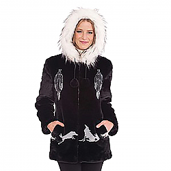 Black Mountain Dream Catcher Wolf Faux Fur Hooded Jacket with full satin lining (Sm - 3X)
