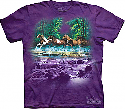 The Mountain Spring Creek Run Short Sleeve Horse Print T-Shirt (Sm - 3x)