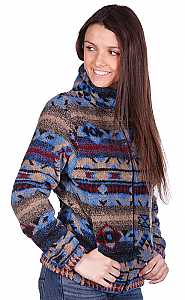 Lapis Looped Wool / Fleece Cinchback Southwestern Jacket by Bear Ridge Outfitters