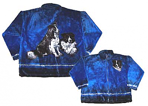 Border Collie Plush Fleece Jacket Adult  (Sm, Md)