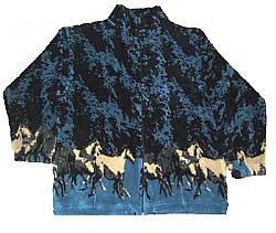 Clearance New Horses Plush Fleece Jacket  (needs zipper) Med, Lg