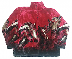 Crimson Red Horses Plush Fleece Jacket Kids & Junior Size