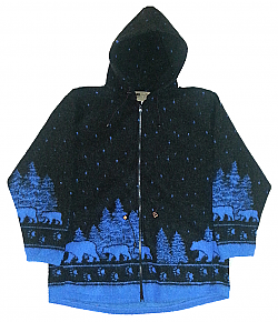 Black Bears Looped Wool / Fleece Hooded Jacket Adult (Sm - 3X)