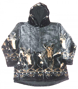 Pewter Horses Hooded Plush Fleece Jacket with Hood Adult (XS - 2X)