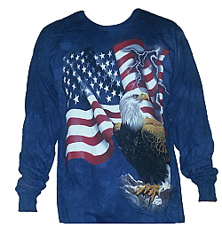 The Mountain Bald Eagle American Flag Long Sleeve Patriotic USA Tee Shirt (Xl,3x)