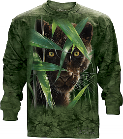 The Mountain Wild Eyes Long Sleeve Black Panther Big Cat T-Shirt (Xl)