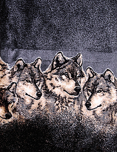 Wolves Pewter Microplush Fleece Wolf Blanket