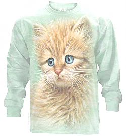 The Mountain Blue Eyed Kitten Face Long Sleeve Cat T-Shirt (2X, 3X)