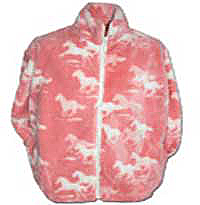 Black Mountain Pink Horses Plush Fleece Jacket - Junior (14-16)