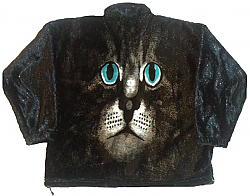 Cat Face Adult Plush Fleece Kitten Jacket (Lg)